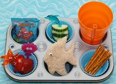 lunch idea, fun food, muffin tins, lunches, kid lunch, cookie cutters, cutter lunch, cooki cutter, seaside food kids