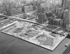 Oct 13, 1968 - Aerial view of the site where World Trade Center is to be built. DailyNewsPix