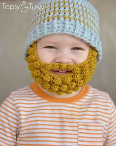 Crochet Child Beard with Hat pattern, http://crochetjewel.com/?p=4874