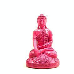 pink buddha statue, trendy, statues, thai, home decor, zen, painted decor, buddhist, pop art, spiritual, feng shui