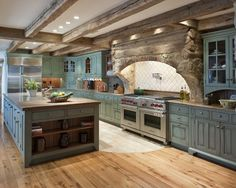 like the rock over range hood cabinet colors, beams, rustic kitchens, stone, stoves, farmhouse kitchens, dream kitchens, kitchen designs, kitchen cabinets