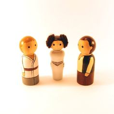 Star Wars peg people  Luke Leia and Han von RandomlyGenerated, $40,00