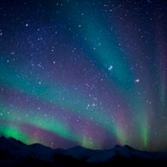 Aurora over the Brooks Range Mountains