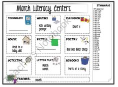 March Literacy Center product from Lets-Teach-Something on TeachersNotebook.com