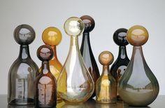 elizabeth lyon, glasses, jar, delect decad, bottles, glass bottl, lyon glass, black glass, caramel handblown