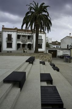 public stairs with benches