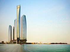 Jumeirah at Etihad Towers, Abu Dhabi, United Arab Emirates, is a 66-floor Xanadu in a five-tower office-condo complex owned by a cousin of the ruler of Abu Dhabi. Bespoke touches include agate-lined elevators and a lobby ceiling dome inlaid with Czech crystals.