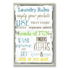 Laundry Room Rules - So need this! #wallart #home #house #decor #wordart #sayngs #quotes #motivation #inspiration