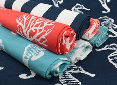 Nautical, beachy Fabric from Premier Prints with designs including seahorse, coral, stripes and anchors in navy #blue, #aqua and #coral. #fabric