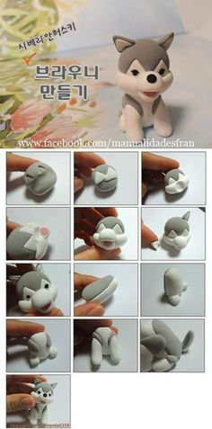 Fondant Husky Tutorial by mauelidadesfran on FaceBook - Could be used for polymer clay too.