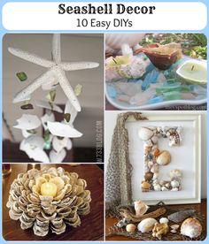 easi diy, 10 easi, crafti, beach hous, decor project, craft idea, seashel decor, seashells, decor idea