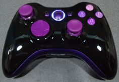 Custom New Xbox 360 Wireless Controller - Glossy Black & Purple / Violet via Etsy