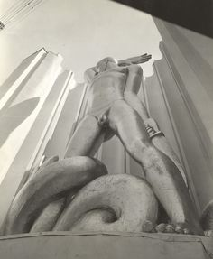 "From the Calumet412 blog.  ""Man Combating Ignorance, statue at the Hall of Science, Century of Progress World's Fair, 1933, Chicago"""