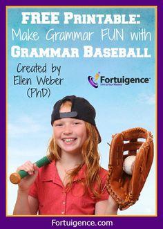 FREE GRAMMAR PRINTABLE GAME: Make Grammar FUN with Grammar Baseball from @lilyiatridis #sponsor #homeschool #grammar