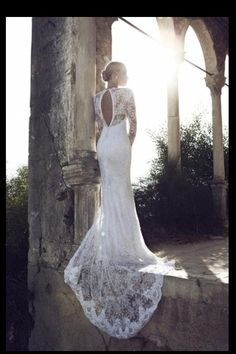 Open back, long lace wedding dressed