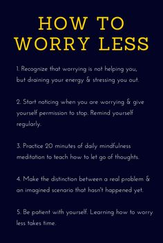 Worrying: How To Sto