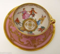 Superb Antique Hand Painted Dresden Portrait Demitasse Cup Saucer Lamm Signed