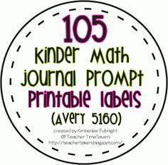 2 Fulbright Hugs: 105 Kindergarten Math Journal Prompt Labels