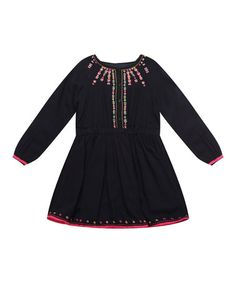 Look what I found on #zulily! Black Embroidered Babydoll Dress - Infant, Toddler & Girls #zulilyfinds