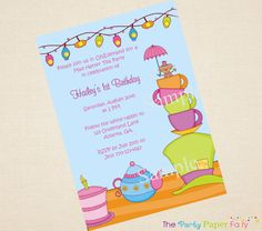 Mad Hatter Tea Party Birthday Invitation by by ThePartyPaperFairy, $12.00