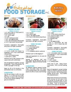 Free handout for making your own baking mixes with my favorite FOOD STORAGE! Cake mix, Brownie mix, muffin mix...