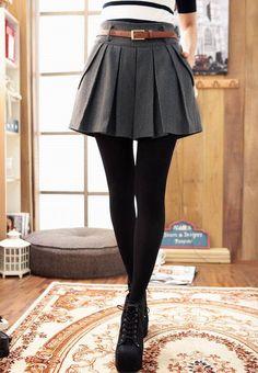 High waist, pleated skirt with black tights