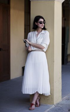 all white, and a pleated skirt?! Love it!