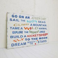 Boys vintage style adventure sign. #sign #wood #boys #room #decor #bedroom #words #typography #vintage