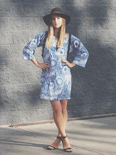 Michelle Madsen of Take Aim is summer ready in a Banana Republic x Marimekko caftan.