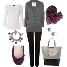 """""""Purple and Gray"""" by bluehydrangea on Polyvore"""