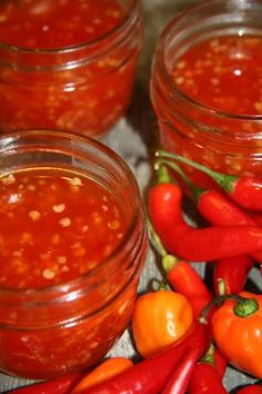Homemade Thai Sweet Chili Sauce        1 Tbsp minced fresh garlic        3 red chili peppers        1/2 cup sugar        3/4 cup water        1/4 cup white vinegar        1/2 Tbsp salt        1 Tbsp cornstarch        2 Tbsp water    I will pressure can,check your Ball canning book