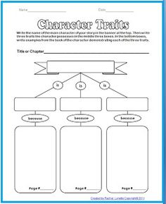 Character Traits ORGANIZER - 3 traits with explanation and evidence from the text