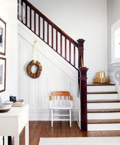 simplecelebration-welcomingentry.jpg #hallway #stairs #white #wood #beachhouse