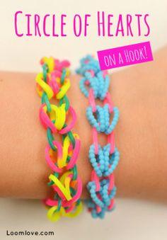 loomLove.com rainbow loom, heart rainbow, circl