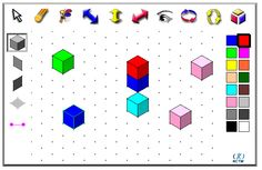 Isometric Drawing Tool: Use this interactive tool to create dynamic drawings on isometric dot paper. Draw figures using edges, faces, or cubes. You can shift, rotate, color, decompose, and view in 2‑D or 3‑D. Start by clicking on the cube along the left side; then, place cubes on the grid where you would like them.