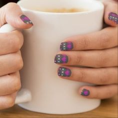 Grey & Pink Hearts and Flowe Cross Stitch Nail Art