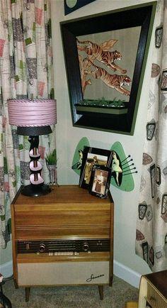 50's Tiger Wall Planer, Telefunken Sonata, Retro Lamp, Art Deco Frames, Atomic Barkcloth Curtains