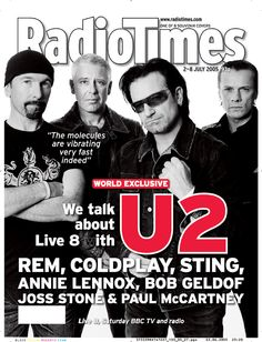 U2, Radio Times, July 2005 #u2newsactualite #u2newsactualitepinterest #bono #theedge #larrymullen #adamclayton #u2 #music #rock   http://u2log.com/category/books-magazines/