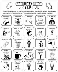 Bingo Boards to help keep Super Bowl Party guests in the mood---especially if they aren't really football fans!