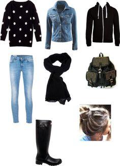 """rainy day outfit"" by gabriella-zabala ❤ liked on Polyvore"