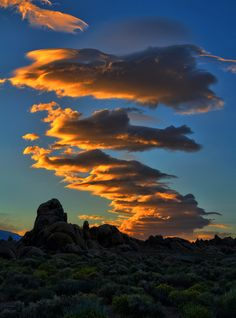 Fiery Sunset over Alabama Hills (by Dave Toussaint