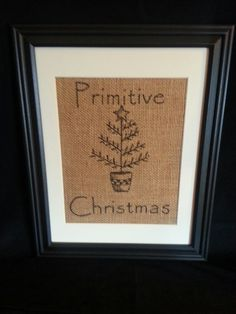 Primitive Christmas Burlap painting by PeachBottomBurlap on Etsy, $25.00