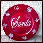 Santa Plate with silver glitter vinyl snowflakes (cute for Santa's cookies)