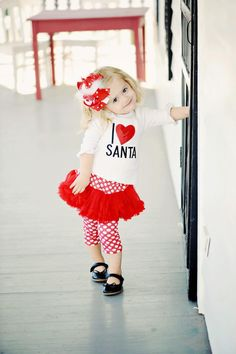 Holiday Collection :: Christmas Collection :: I Love Santa Playset - Little girls boutique, baby girl clothes, toddler clothing, kids accessories. | Tutu Spoiled Santa Clause, Little Girls, Playsetmud Pies, Tutu, Girls Christmas Outfit, Christmas Outfits, Future Kids, Santa Playsetmud, Baby Girls Clothing