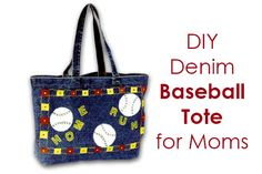 DIY Baseball Tote Bag for Moms  #FabricCrafts http://goo.gl/fUsKER Dot Com Women