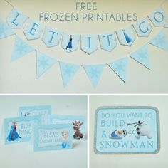 Free Frozen Party Printables set includes: Let It Go Banner, Happy Birthday Banner, Thank You Tags, Water Bottle Wrappers, Food Labels, Snowflake Bunting and Party Signs