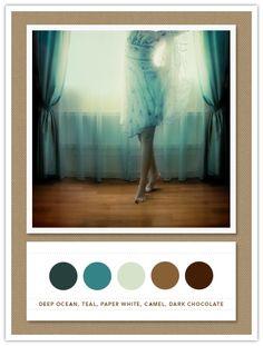 Colour Palette: deep ocean, teal, paper white, camel, dark chocolate