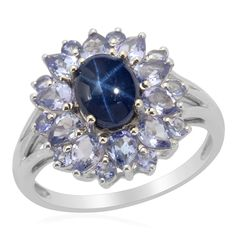 Liquidation Channel: Thai Blue Star Sapphire Diffused and Tanzanite Ring in Platinum Overlay Sterling Silver (Nickel Free)