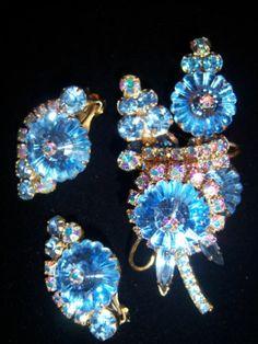 Amazing Sparkle Vtg Juliana AB Blue Rivoli Brooch Pin Earring Set Demi Parure | eBay
