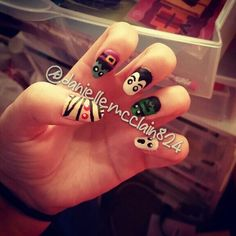 My other Halloween nail art creation with a mummy, witch, vampire, Frankenstein, and a ghost. Created by me @daniellem824
